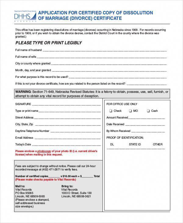 11+ Divorce Certificate Templates | Free Printable Word & PDF
