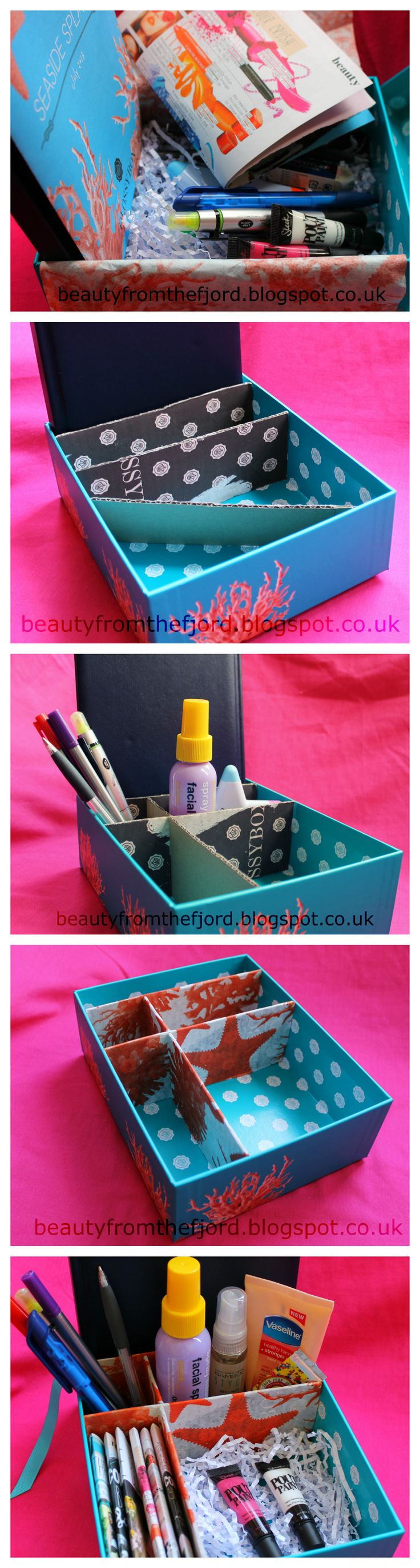 If you are a beauty blogger, you might want one of these with compartments for: notebook, pens, beauty refreshers, inspirations  current review item. I used Glossybox, but you can use any box. Details here: http://beautyfromthefjord.blogspot.co.uk/2013/07/glossybox-diy-3-beauty-bloggers-storage.html