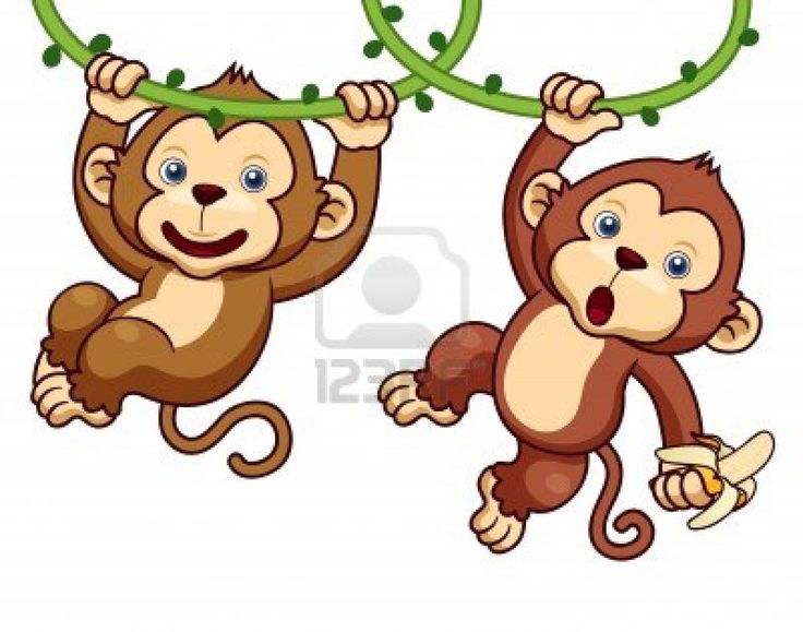 Illustration of Cartoon Monkeys Stock Photo - 17061724