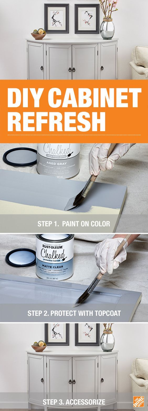 Transform your cabinet into a stunning focal point with help from Rust-Oleum Chalked Ultra Matte Paint and this how-to. This paint provides a smooth finish and makes it easy to give your cabinets, dressers, tables or any other furniture a whole new look. Click through for the step-by-step on The Home Depot Blog.