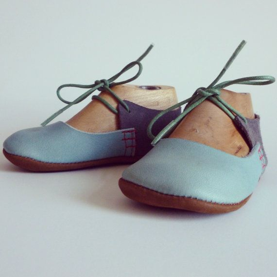 These shoes are inspired by my fabulous musical friend Birdie! They are made from pale blue, grey suede and brown leathers. Made with love for your cool