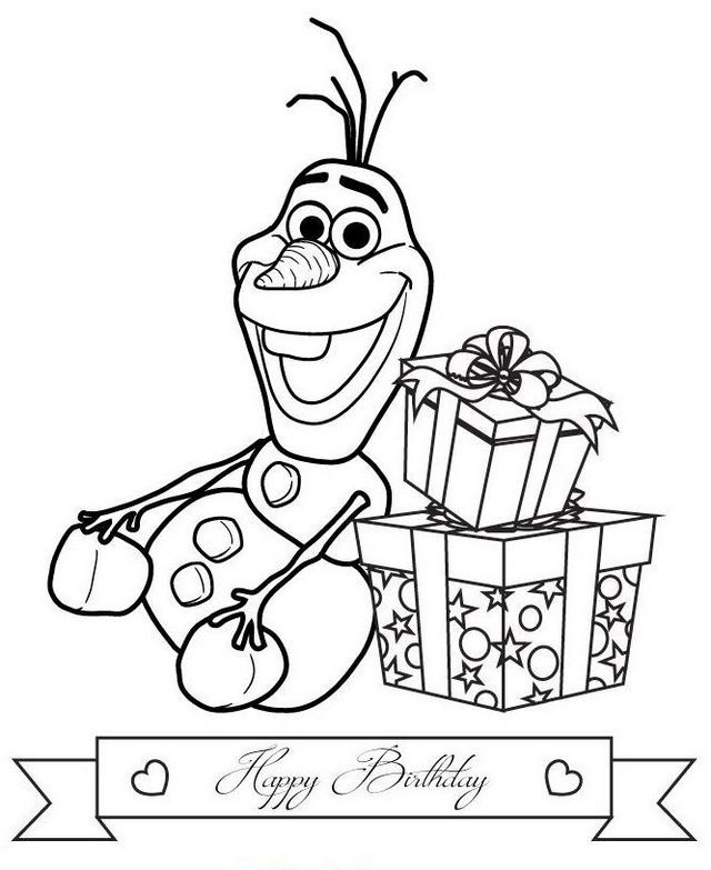 Olaf Birthday With Gifts Coloring Page Happy Birthday Coloring Pages Birthday Coloring Pages Disney Coloring Pages