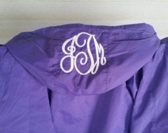 Check out Ladies Purple Monogrammed Raglan Rain Jacket - Wind Breaker - Purple Jacket With White Monogrammed - Monogrammed Hood on fabuellaboutique