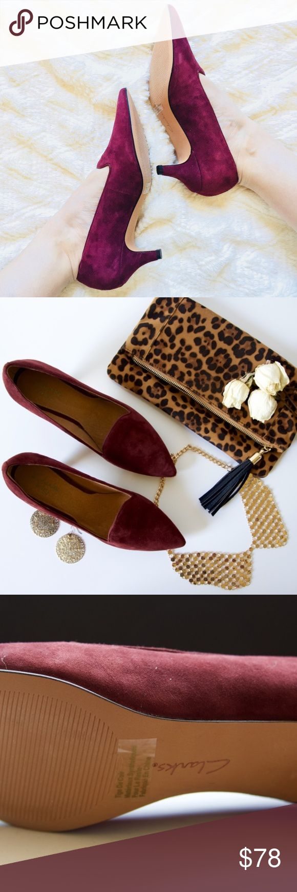 """Clarks Suede Sage Elfin Pump in Burgundy Meow. These kitten heels are the bomb. Sophisticated, yet a fun burgundy color. Easy to style & coordinate with outfits. The PERFECT work shoe, or wear with skinny jeans for an elegant casual look. Talk about comfort too - 1, a kitten heel, so not too high. 2, OrthoLife footbed cushions. Yes, I kid you not. Talk about an 8 hour work day dream!   ▪️2.25"""" heel ▪️Just like new. Zero wear on soles. ▪️Leather upper & lining  ▪️Please read Closet Guidelines…"""