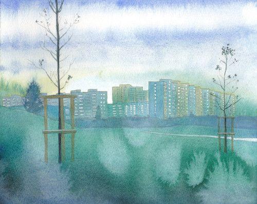 Zima přichází - originál, akvarel a kvaš