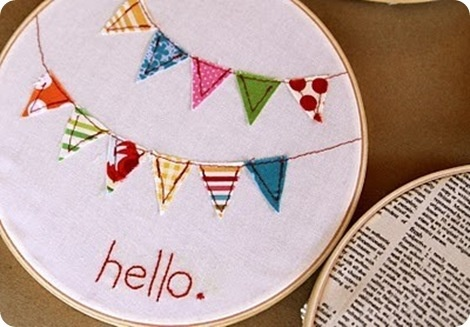 Anna Reaghan's room  bunting wall art embroidery hoop