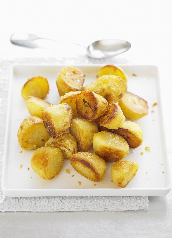 Goose-fat roast potatoes - This recipe makes creating the perfect roast potato child's play. Goose fat, English mustard and semolina are the key for making these perfectly crispy roasties.