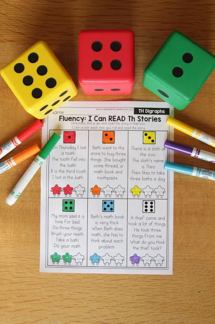 I Can Read Digraph Stories- A simple stories game to help students build fluency and master digraphs.  Roll a die and read the story that matches the die.