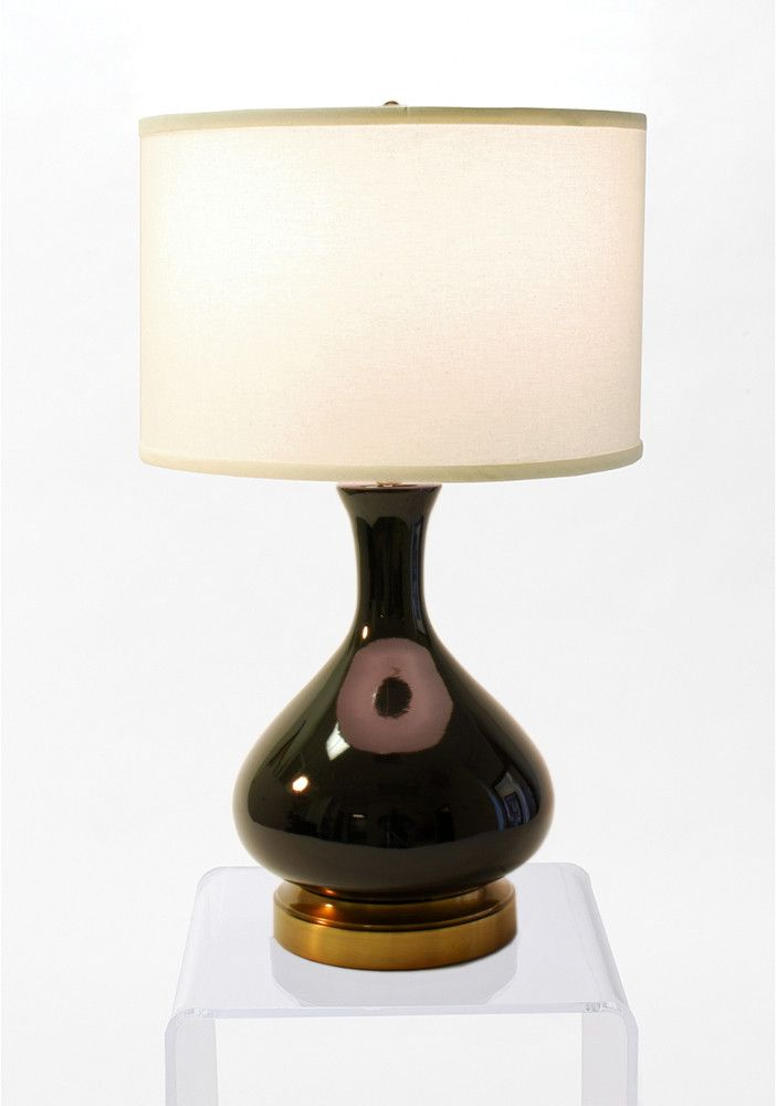 INDOOR CORDLESS LAMP - MADE IN THE USA Done in a rich jet black glaze with a contrasting antique brass base this cordless lamp is dapper! Every piece in this hand made, limited run, is made here in Am