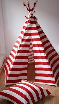 candy-cane striped tee-pee playhouse