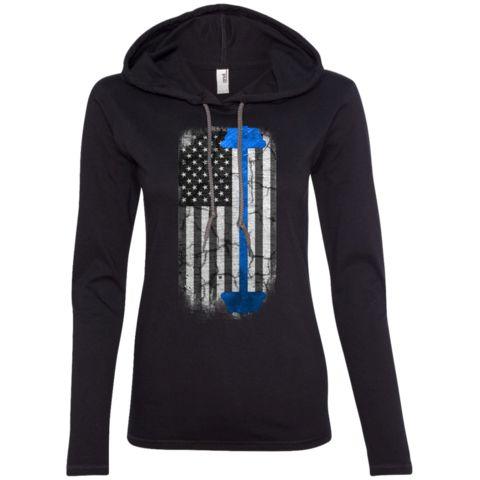 Strong American Pride Blue Ladies Longsleeve Hoodie