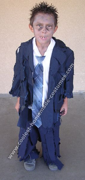 Kid's zombie costume made from thrift store suit jacket and pants. No blood! :-)