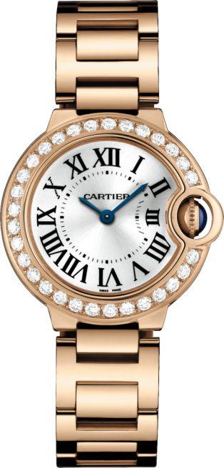 Ballon Bleu de Cartier watch 28 mm, quartz, 18K pink gold, diamonds