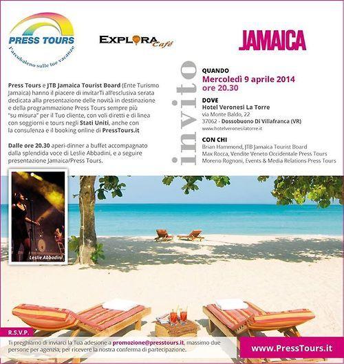 Serata Press Tours a Verona realizzate in collaborazione con JTB Jamaica Tourist Board dedicata agli agenti di viaggio.