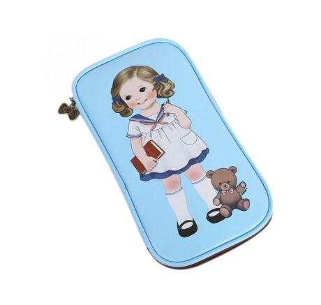 Lovely Girl and Bear Printed Impertex Fabric Pencil Case