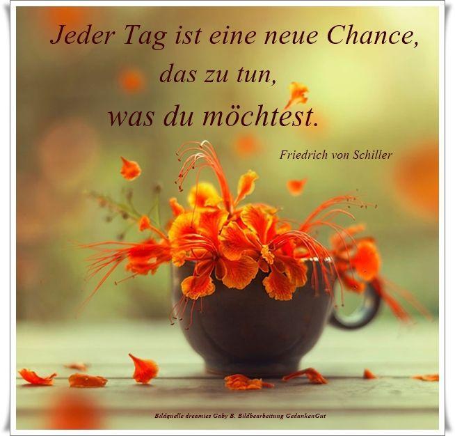 Jeder Tag ist eine neue Chance, das zu tun, was du möchtest. - Friedrich von Schiller - ~ Quelle: GedankenGut https://www.facebook.com/Gaby.GedankenGut/  http://www.dreamies.de/mygalerie.php?g=jtdysguz