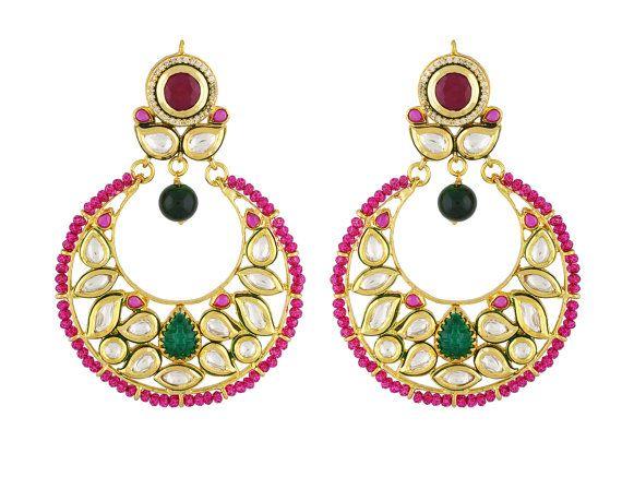 Alyza Pearls kundan polki multi color earings in onyx stones