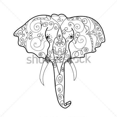 Tribal Elephant Head Drawings