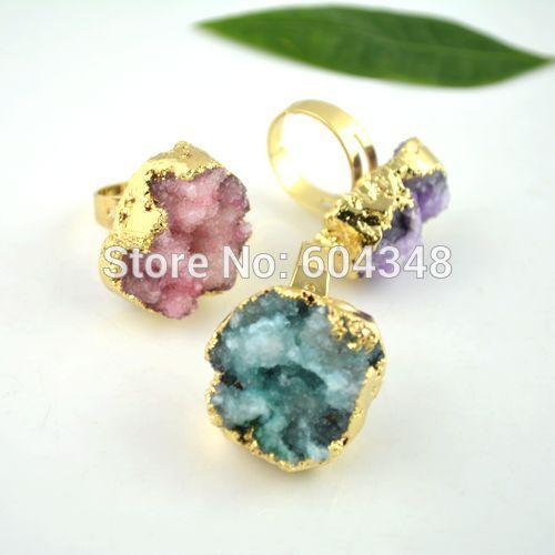 6 шт. природа Druzy кварцевый Drusy палец драгоценный камень кольцо, Свобода форма позолоченные регулируемый размер камень кольцо смешанный цвет