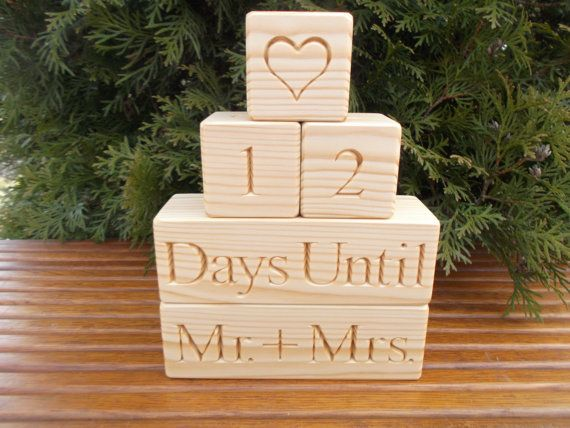 Wedding Countdown blocks Bridal shower Countdown by WoodpeckerLG