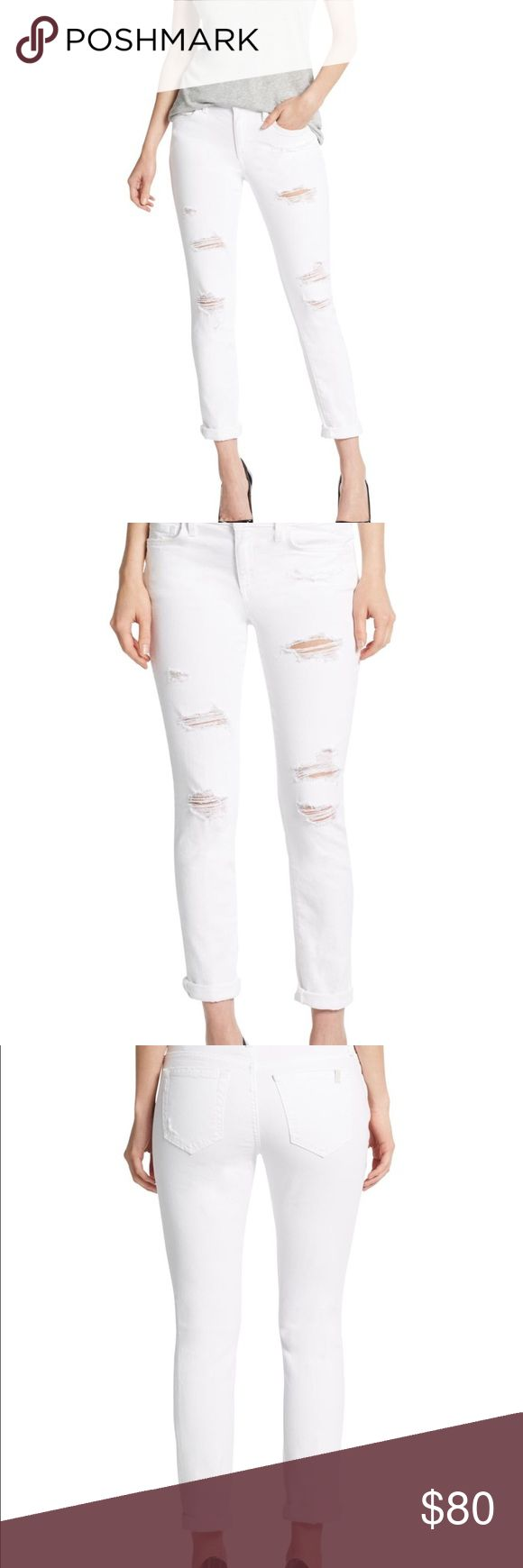 Women's White Distressed Rolled Cuff Skinny Jeans White distressed cuff skinny jeans. Button closure. Zip fly. 5 pockets. Stretchable material. Inseam: approximately 26'' Size: 29 No Trade. Joe's Jeans Jeans Skinny