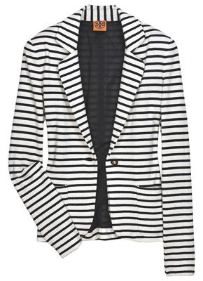 black & white stripe blazer - love wearing this with a variety of long-sleeved tees underneath.