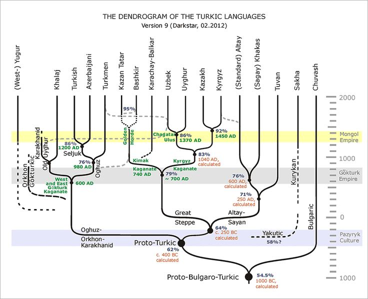 A phylogenetic tree of Turkic languages: Khalj, Turkish, Azeri, Turkmen, Kazan Tatar, Bashkir, Karachay-Balkar, Uzbek, Uyghur, Kyrgyz, Altai, Khakas, Tuvan,  Sakha, Chuvash