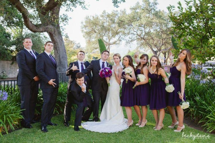Da Crew.   La Canada Thursday Club - Becky Davis Photography. Bridal party. Purple and gray wedding