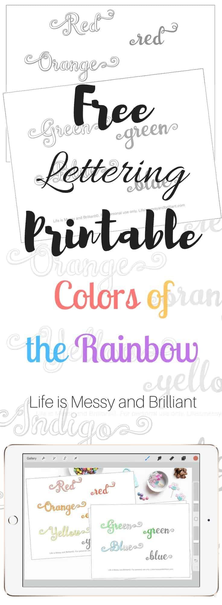 Free Colors Of The Rainbow Hand Lettering Practice Worksheets Lettering Practice Hand Lettering Practice Lettering [ 2000 x 736 Pixel ]