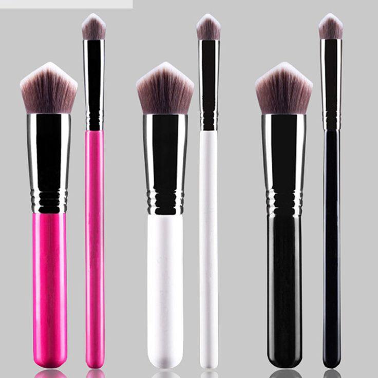 2Pcs Eyeshadow Makeup Brush Set Powder Foundation Blush Cosmetic Brush Big Concealer Make-up Tools Blending Brush Kit 3 Colors #Affiliate