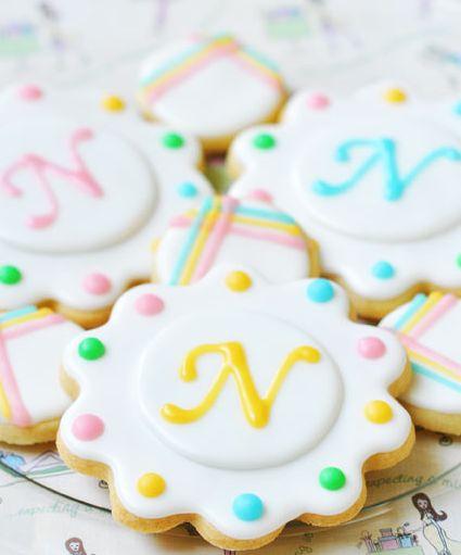 Sweet monogrm cookies.