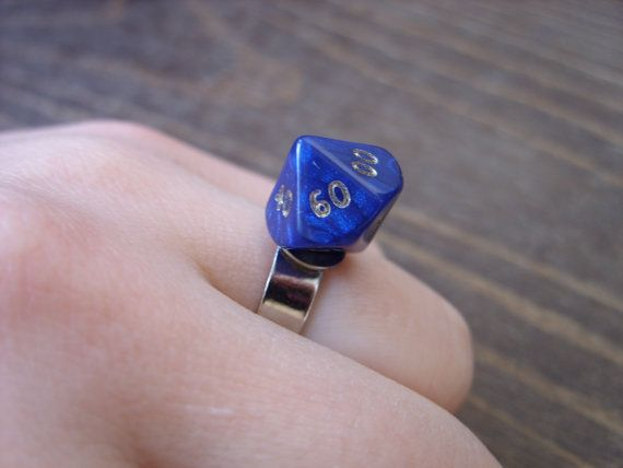 Miniature D100 dice ring adjustable ring dungeons by MageStudio