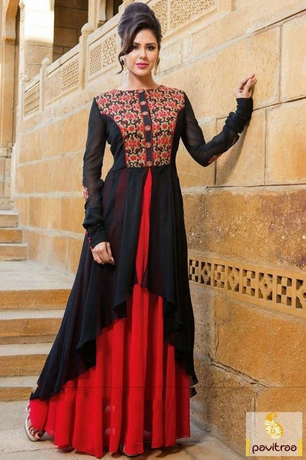 54% off on Black Georgette Wedding Salwar Kameez. Sway away everyone with your simplicity. This wedding suit is perfect for wedding season. #Wedding #Salwarsuit #salwarkameez