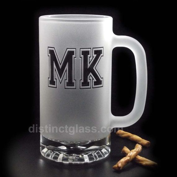 Our monogram frosted beer mug is a tastefully appointed gift for the entire wedding party and is sure to become a much-treasured keepsake to be