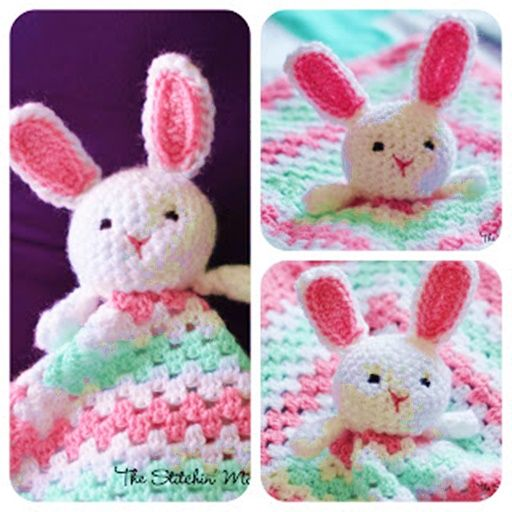 This Crochet bunny lovey blanket is button cute ! Your kids and you will love it…