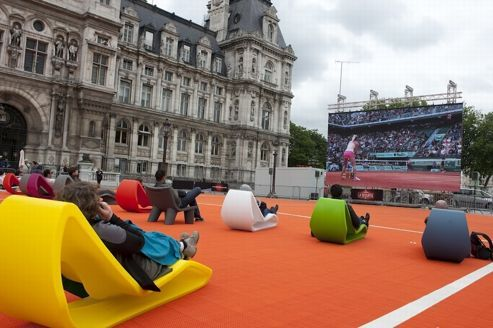 Outdoor televised French Open Finals  at the Hotel de Ville (Paris City Hall)