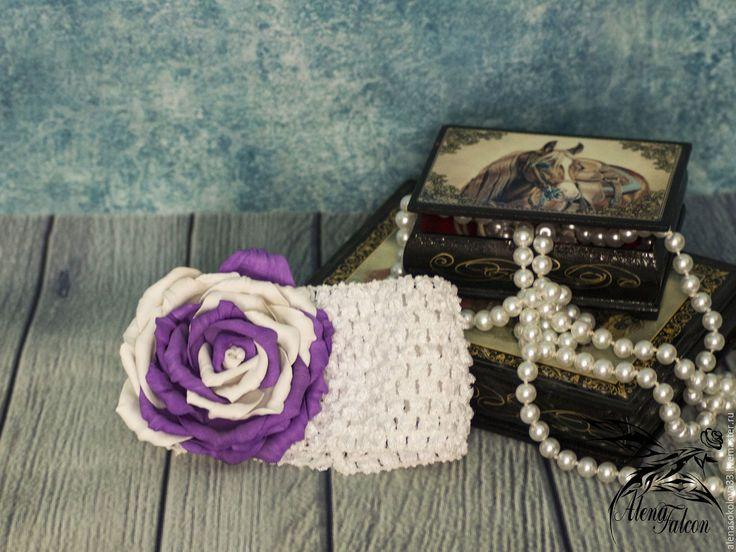 Купить Повязка с цветком на голову для девочки лето детская фотосессия - белый, роза из фоамирана, повязка