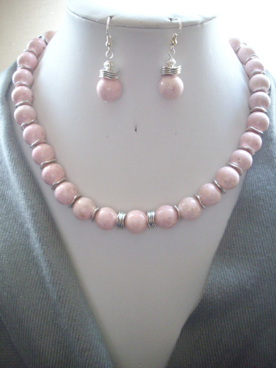Carnation Pink Fossil Beads wilth Silver by DesignsbyPattiLynn, $60.00