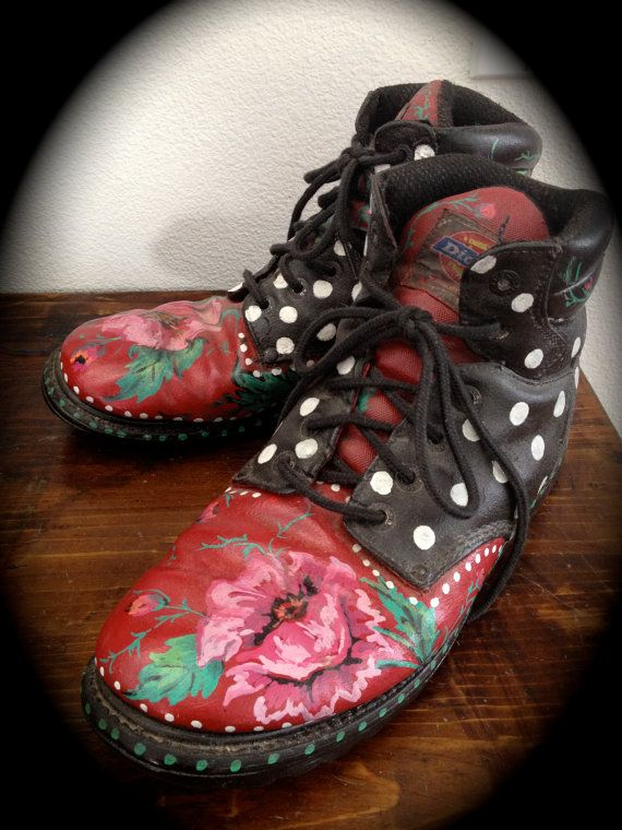 Hand Painted One of a Kind Old Work Boots