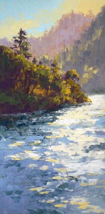 'Umpqua River Bend' by Erin Dertner   Original Oil Painting ~ 16 x 8   Available for sale $150