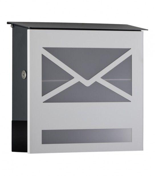 Briefkasten mit Zeitungsfach und Glasfront, weiß