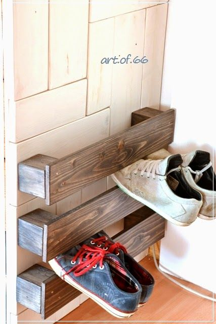 Easy pallet wood shoe storage - Art of 66, featured on ILoveThatJunk.com. Come check out that wooden wall!