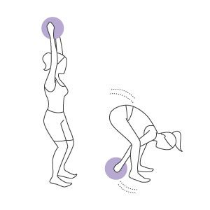 For this exercise, all you need is a single dumbbell or a medicine ball. Stand with your legs a little farther than shoulder-width apart. Take the dumbbell or ball in your hands and lift your arms above your head. Bend your knees slightly and lean your upper body forward (keeping your back straight) and lower the weight between both legs, without letting it touch the floor. Your knees will bend further as you execute the move. Return to the starting position, bringing the weight back above…