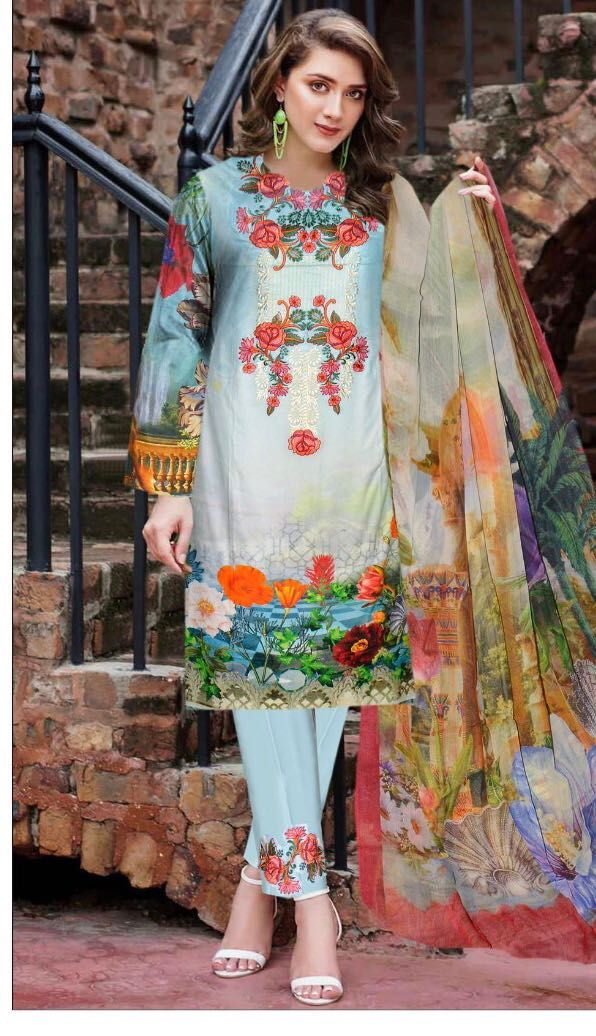 c2cfade9d57ee Brand Maya.B Available in digital lawn Master Replica fabrics !! Front  heavy Embroidered work Trouser patch Embroidered Dupatta digital crinkle  chiffon For ...