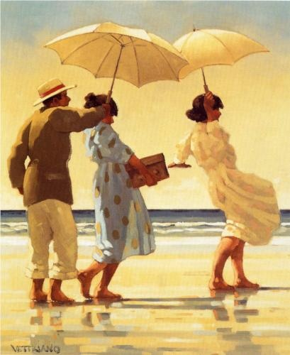 The Picnic Party - Jack Vettriano.    A lot of Vettriano's work has a dark mood but I like this seaside picnic party.
