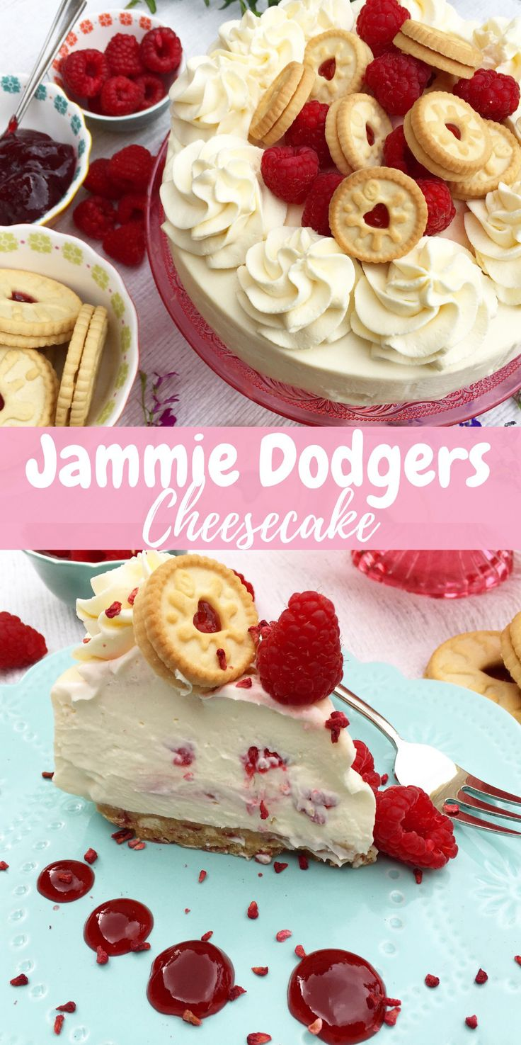 No-bake Jammie Dodogers cheesecake! A simple no-bake Vanilla and raspberry jam ripple cheesecake with a Jammie dodger base.