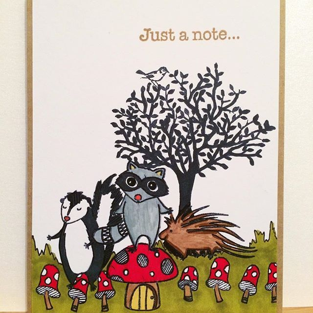 A little woodland scene greetings card created by @theverycraftykat with their Chameleon Pens.   #heroarts #chameleonpens #colouring #handstamped #handcoloured #stamping #cardmaking #woodsy #woodland #skunk #toadstool #mushrooms #raccoon #porcupine #woods