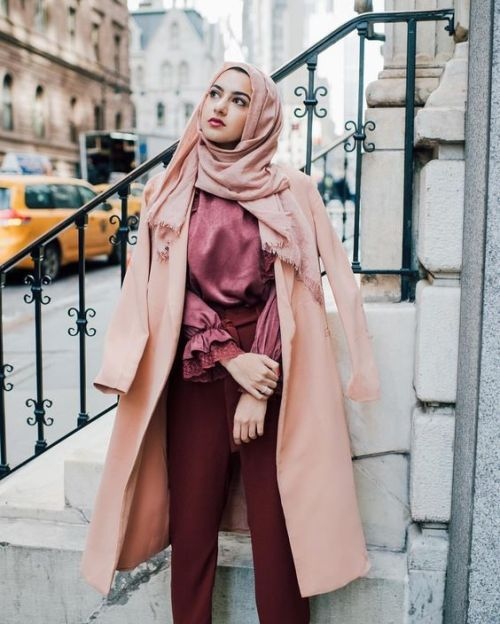 classy blush cape coat hijab -Everyday hijab outfits – Just Trendy Girls