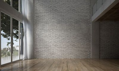 The Interior Design Of Empty Room And Living Room And Brick Wall Texture Background 3d