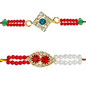 This splendid pair of rakhis are beautifully designed and hand-woven together with color beads and diamond studded motifs to make these rakhis elegant and glittering. Rs 403/- http://www.tajonline.com/rakhi-gifts/product/rdr83/diamond-rakhi-set-of-2/?aff=pint2014/